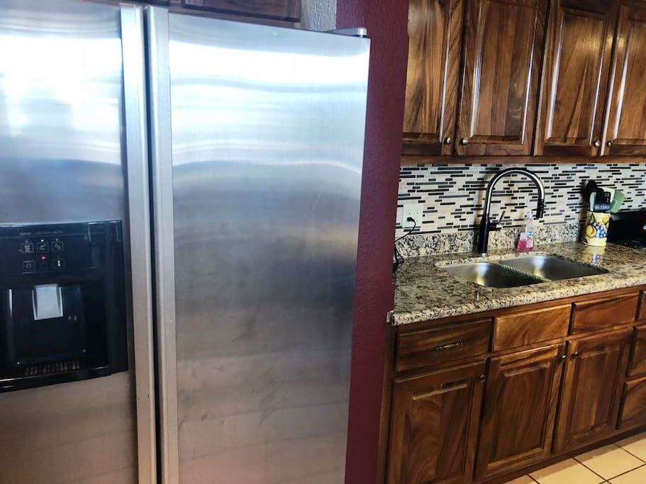 Large stainless steel refrigerator