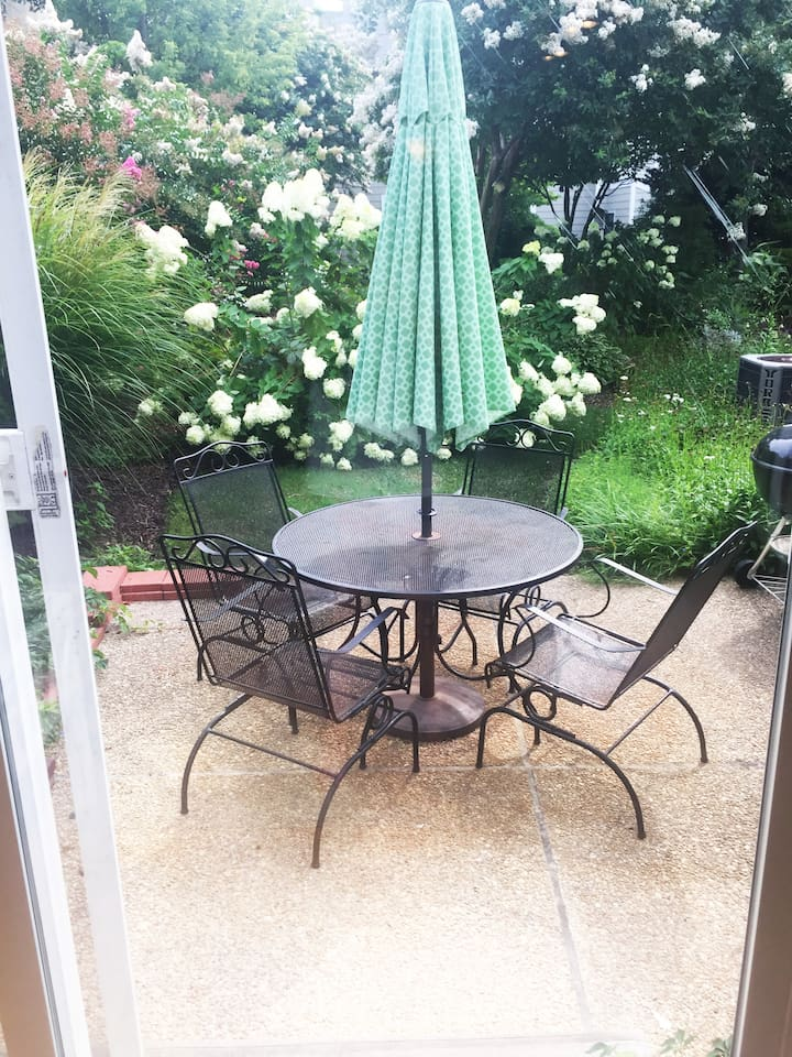 Backyard patio (end unit so great privacy and space for your pet to do their business)