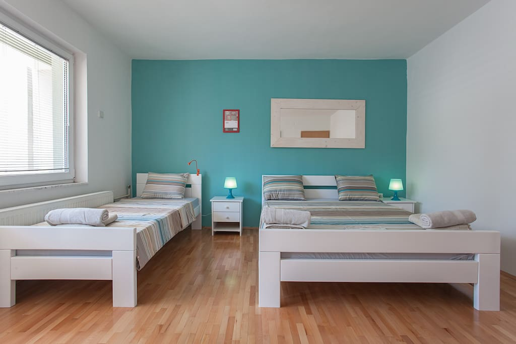 Private Blue Room 23m sq , Double bed + Single One