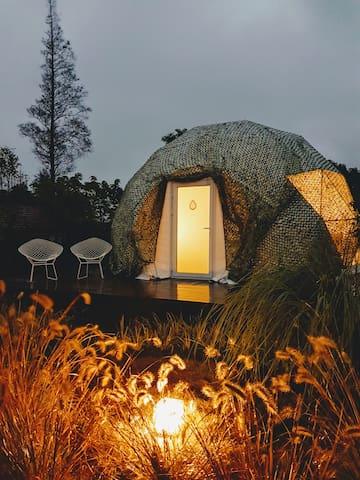 CAMPO崇明岛特色住宿体验轻松帐篷营地屋豪华球形帐篷圆球屋