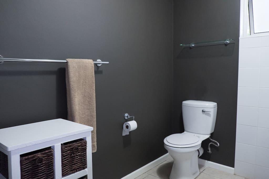 BATHROOM 1 WITH SHOWER, BASIN & TOILET
