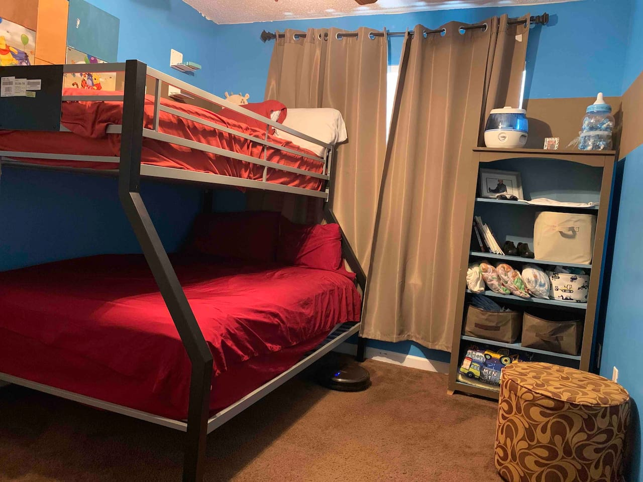 There is a bunk bed with a full size bed on the bottom and a twin size bed on top. This room also has a humidifier.