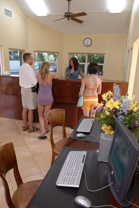 Front Check in desk where you will check in when you arrive