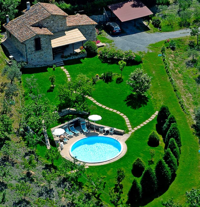 Aerial view of the villa and the pool