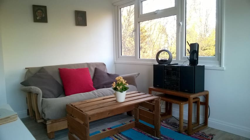 Comfortable lounge with TV, iPod dock, music centre, DVDs  and lots of books