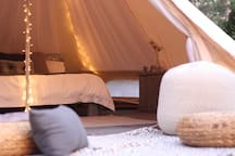 We love romance and with a log burning stove, luxury linen, soft rugs, cushions and fairy lights we want to create a magical setting for you.