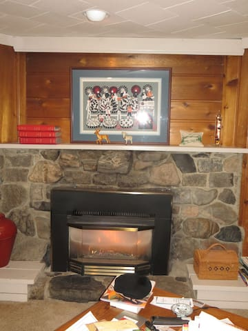 This is the gas fireplace in the family room you will share with the host.  Not as private as the main floor spaces, but host will give you access to this room, just ask and it is yours.