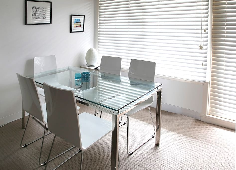 Light filled dining area.
