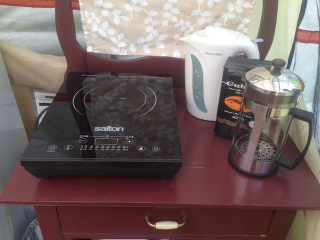 Induction cook-top, kettle, french press and ground coffee