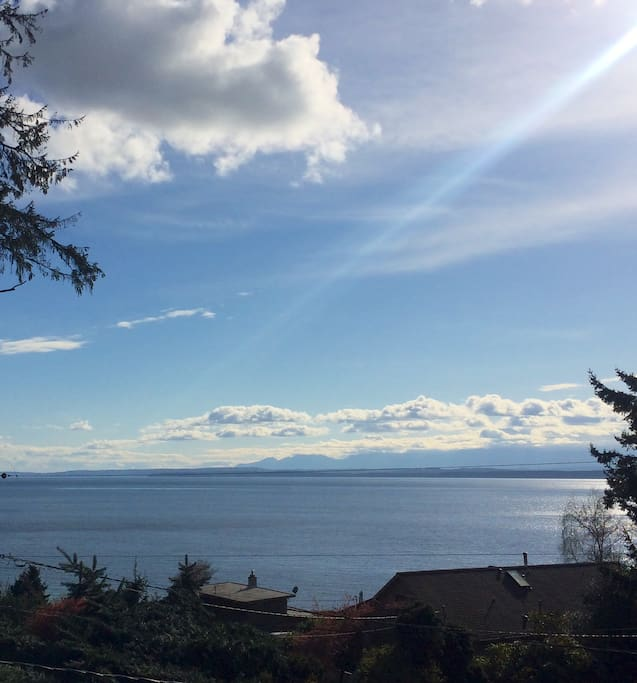 View from the deck looking at the Olympic Mountains & Puget Sound…