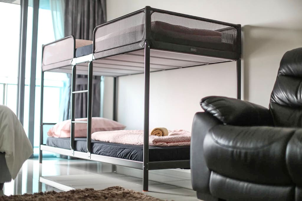 Solid Double Decker Bed complete with Mattress & Duvet