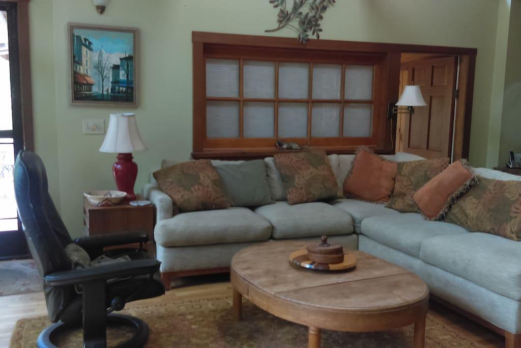 Living room has skylights