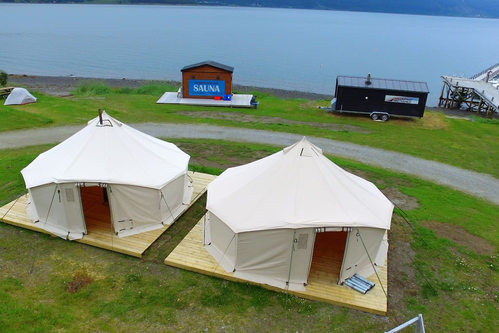 Two XXL tents with heating. You can choose our camp bed or bring your own equipment.