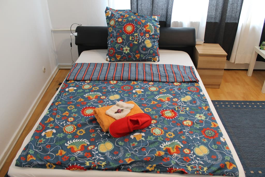 Comfortable double bed for one or two, sheets and towels provided