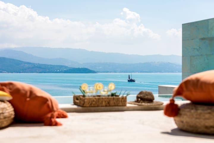 【海弥】摩登3卧海景别墅无边泳池步行到沙滩-Maria