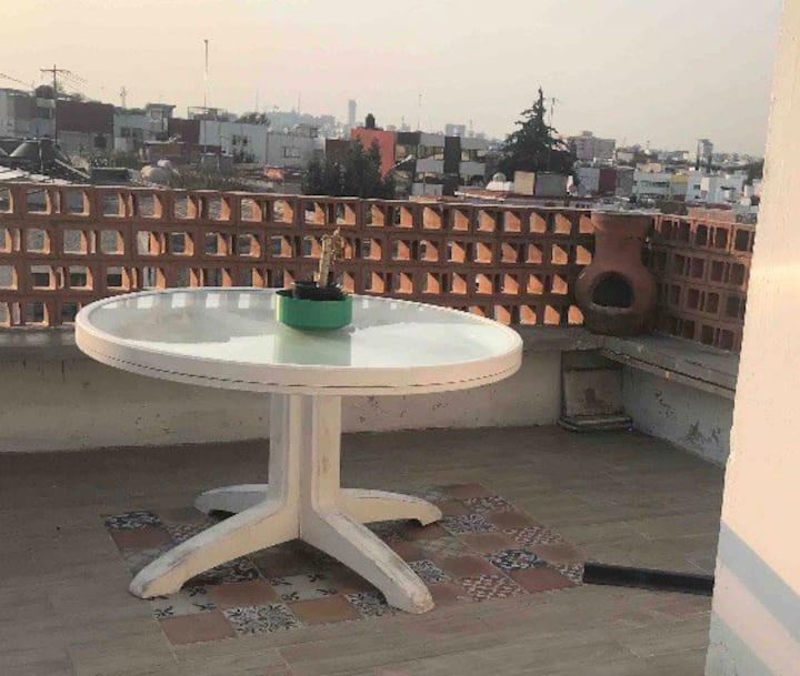 Prívate Room  Terraza vista a la ciudad de Puebla