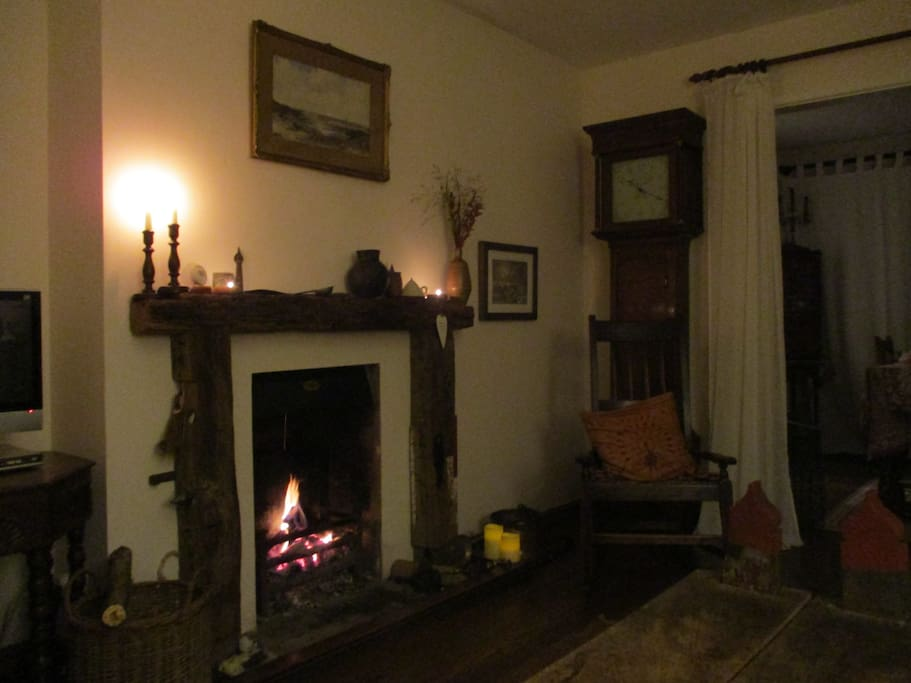 The fire burning in the sitting room