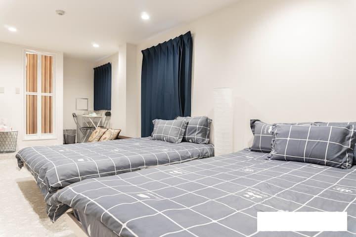 G,特大雙人床,心齋橋難波附近,免費冷氣和暖氣,免費Wi-Fi,免費寄存行李,即熱及不間斷洗澡熱水