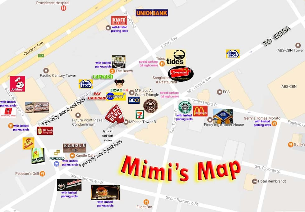 In Mplace mall, there is a pass-through Panay Ave. to Mo. Ignacia Ave. In Mplace Condominium, there is pass-through to all different towers, just go to L1 parking floor and walk.