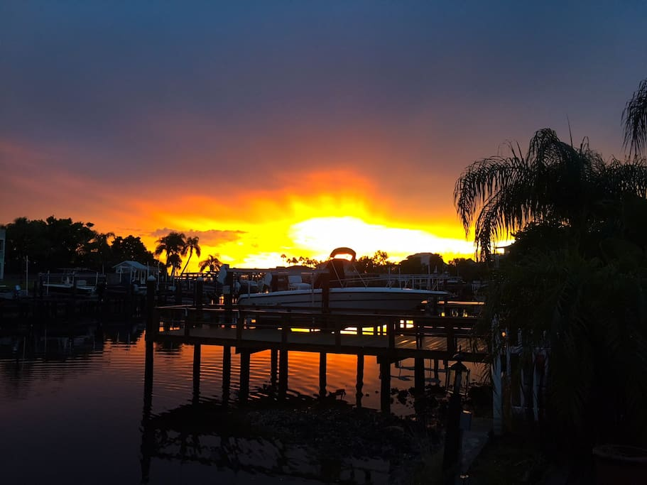 Breathtaking  evening sunsets over the gulf from the back.