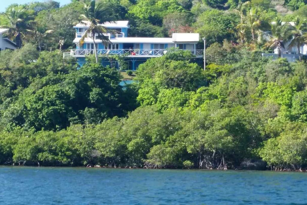 All of Villa Panorama from the water. Panorama Wesy is the right side