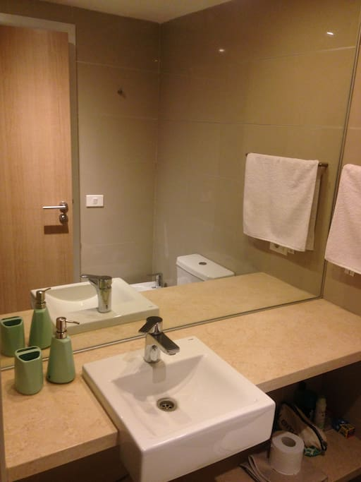 Bathroom includes shower, toilet, bidet and handwash
