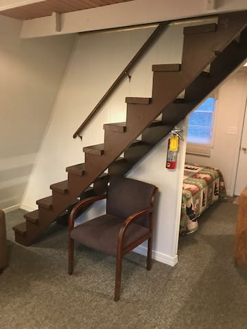 Stairs leading to beds upstairs