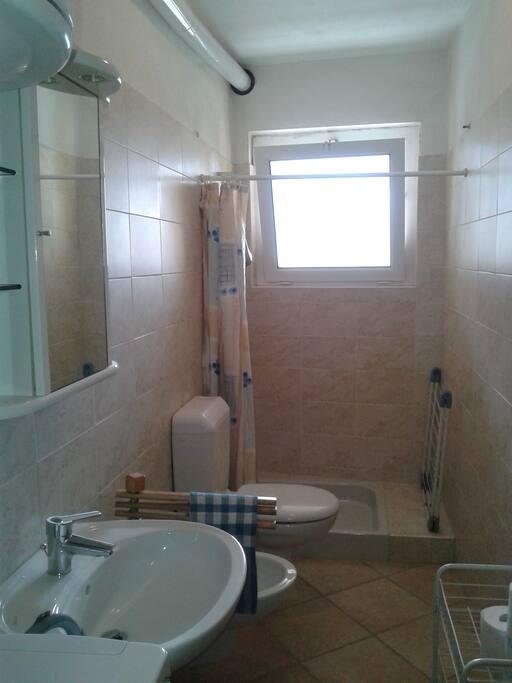 Il bagno con doccia e lavatrice.