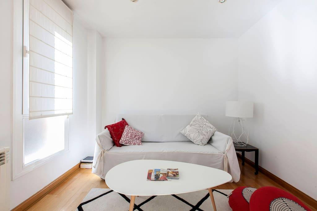 Living con sillón cama de dos plazas