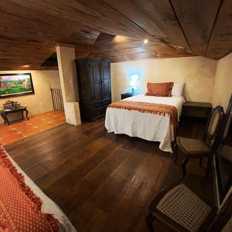 The Mayan Loft with two full beds.