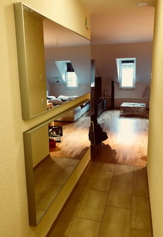 The hallway leading form the bedroom to the living room / kitchen area