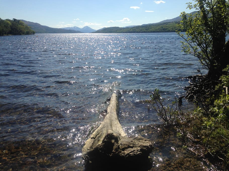 Loch Tay is only a field away - less than ten minutes walk to a private beach