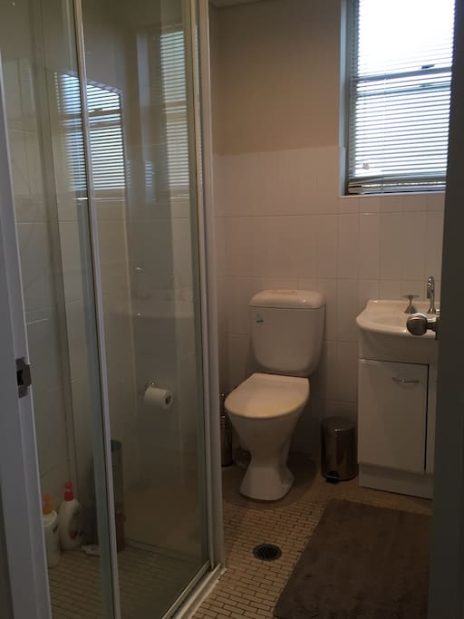Full size modern bathroom with shower and toilet