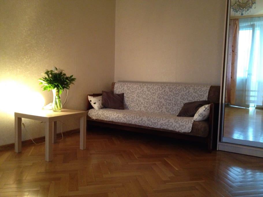 Двуспальный диван и вместительный шкаф