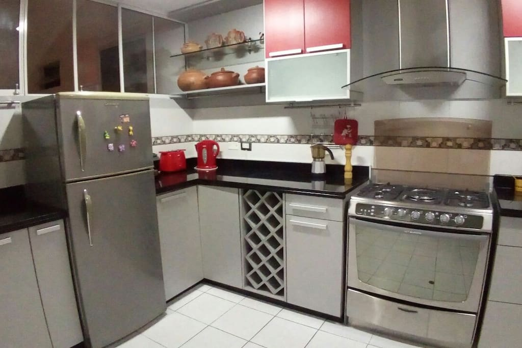 The spacious and well-equipped kitchen.