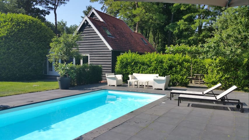 Detached villa with swimming pool in a wooded area