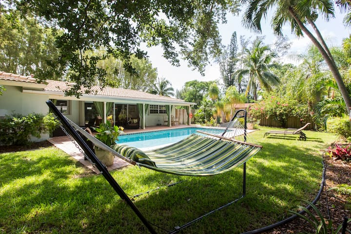 Entire home with a  private yard and heated pool