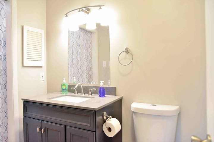 Large bathrooms in both bedrooms are functional and super clean.