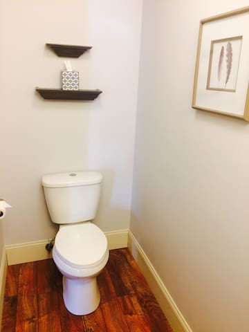 Half bathroom for guests down stairs