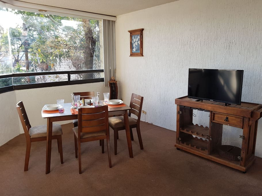 Fully equipped dinning room for 4 people. Open TV and wifi available.