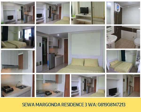 Clean Studio Apartment Margonda Residence 3