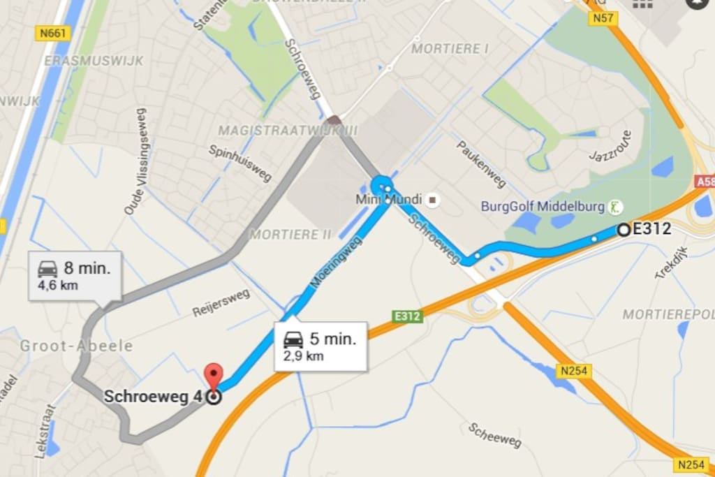 Vanaf de A58 neemt u de afslag 39 richting Middelburg Centrum en op de eerste rotonde neemt u de 4e afslag.  U slaat rechtsaf de Moeringweg op en na een paar minuten ziet u aan uw linkerzijde de locatie Schroeweg 4a/b