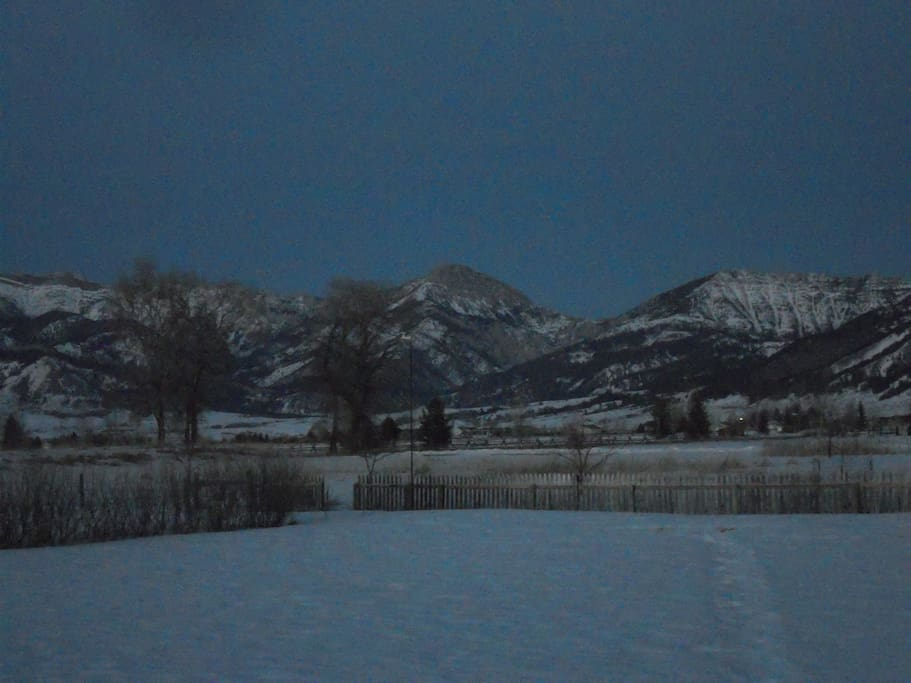 Amazing view of the Bridger Mountains from the back yard.
