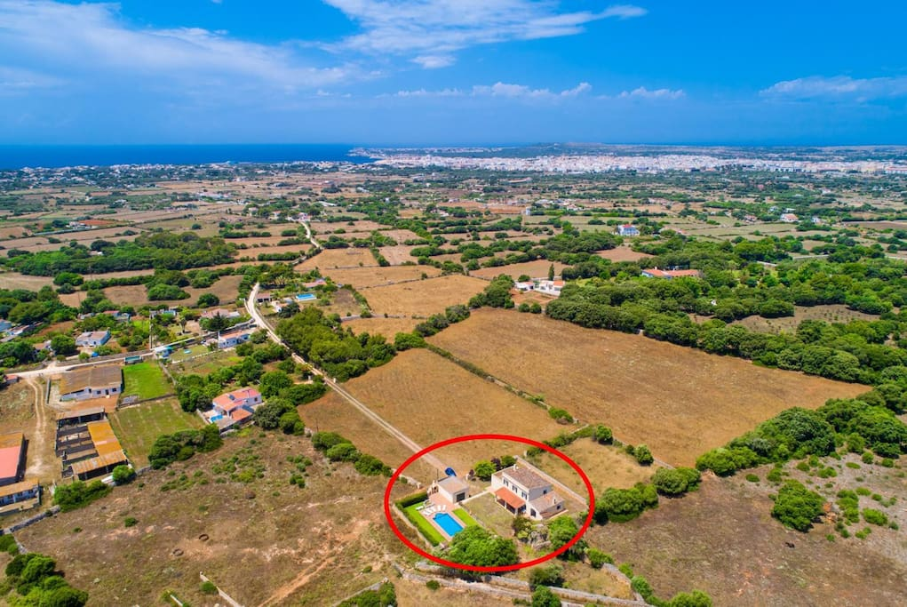 Aerial view showing location of Villa Finca Son Roseta