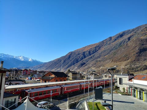 In front of Bernina Express Holiday Home Panorama