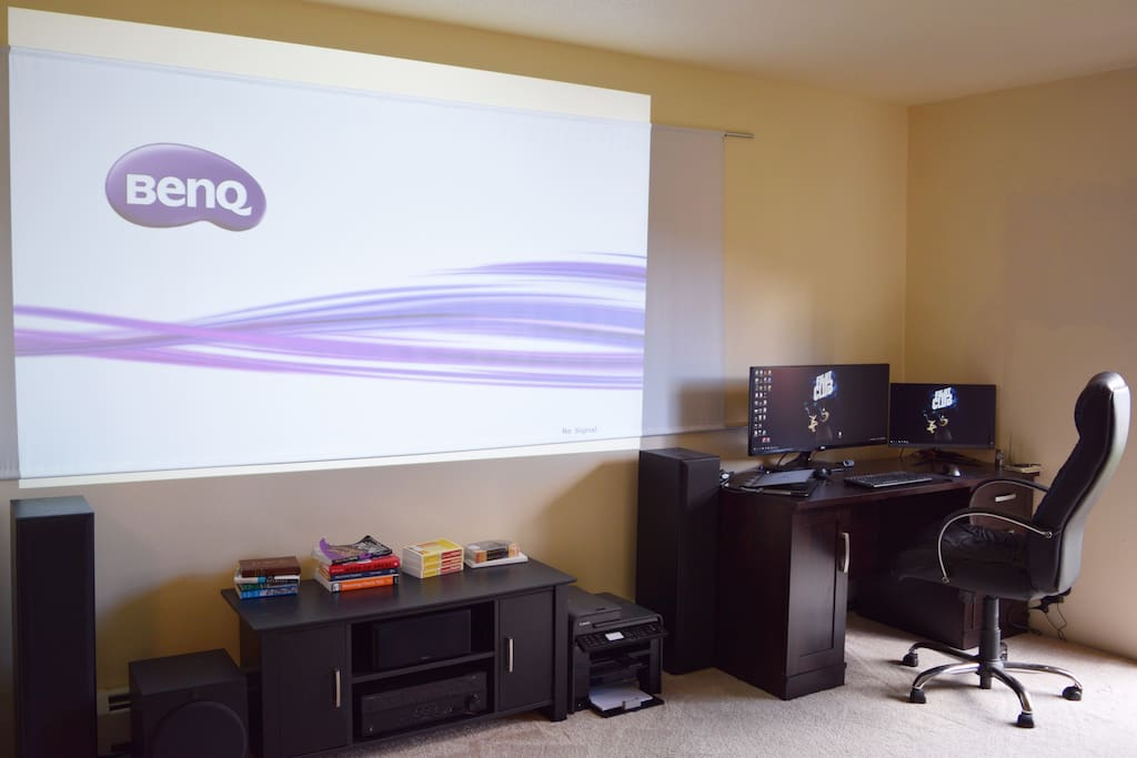 Projector screen, home theater & working area