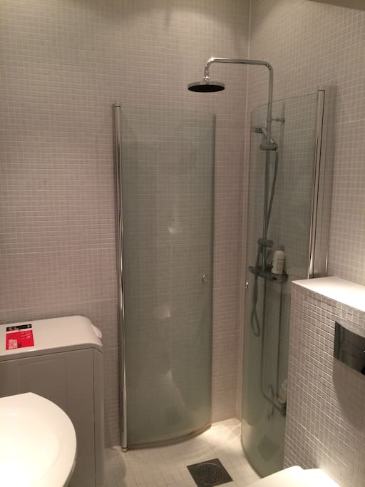 Renovated bathroom with shower and a washing machine.