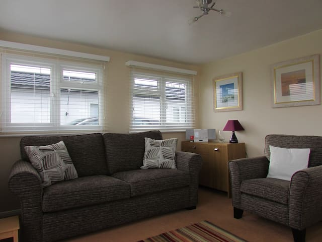 Light and airy open plan and sofa turns into very comfortable 4ft double bed.