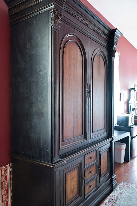 Armoire in Hall-storage for coffee pot, food, extra linen, etc.