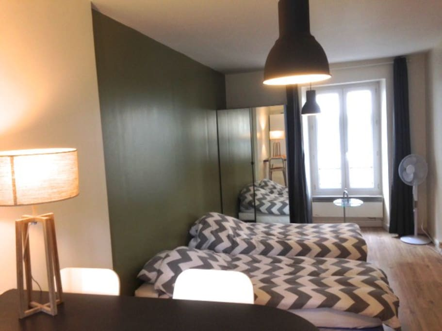 Studio 300sq feet. (28m2).Twin beds with duvet, bed linen and pillows.Wardrobe. We provide clean sheets and towels.2 Electric heating wall